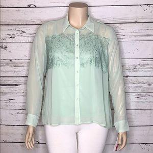 Elle NWT XL Lace Fringe Button Up Blouse & Tank